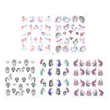 5 Sheet Nail Water Decals Unicorn Manicure Nail Art Transfer Stickers Decoration