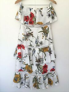 Pretty Little Thing Floral Strapless Dress Size 10 Multicoloured Party Dinner