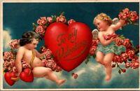 c 1910 Valentine Greeting Postcard Cupid Cherubs Love Hearts Roses Flowers