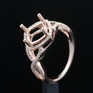 10k Rose Gold Semi Mount 8x8mm Cushion Real SI/H Diamonds Ring Setting Jewelry