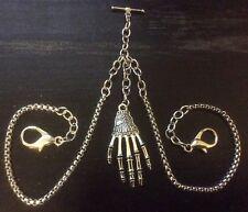 Edwardian Memento Mori Style Albert Pocket Watch Chain Skeleton Hand Fob