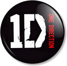 "One Direction Logo Black 25mm 1"" Pin Button Badge Boy Band Harry Styles 1D Fans"