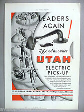 Utah Phonograph Electric Pick-Up  PRINT AD - 1930 ~~ turntable cartridge pickup