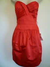 New BCBG Maxazria womens Small 6 8 red strapless formal sweetheart prom dress