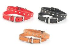 Ancol Heritage Dog Studded Hand Sewn Quality Leather Collar - Black Red Tan