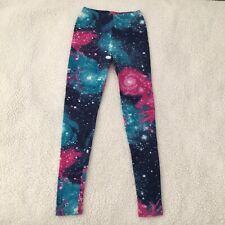 Wet Seal Leggings S Womens Galaxy Print Blue Hot Pink High Waist Stretch