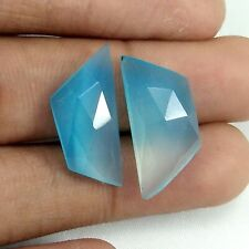Exclusive AAA Aqua Chalcedony rose cut faceted MATCHED PAIR gemstones M-159A