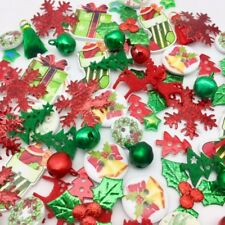 100 NEW Christmas Embellisments Mix Craft Cardmaking Xmas Buttons Flatback Bells