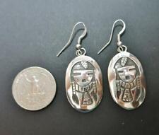 Native American Navajo Sonny Gene Sterling Silver Overlay Maiden Drop Earrings