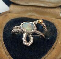 Modernist Vintage 14k Gold Sterling Silver Ring 925 Size 5 Opal Twist Estate