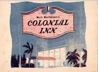 1940's MERT WERTHEIMER'S COLONIAL INN MIAMI FLORIDA SOUVENIR FOLDER+PHOTO