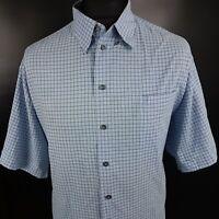 DOCKERS Mens Shirt 2XL Short Sleeve Blue Regular Fit Check Cotton Polyester