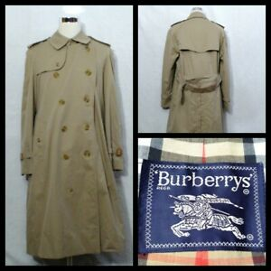 Burberrys' Trench Coat Men's Size 44 Khaki Belted Button Up w/Pockets Inv#Z2194