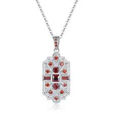 Fashion Silver princess cut red Cubic Zirconia CZ Art Deco Necklace Jewelry