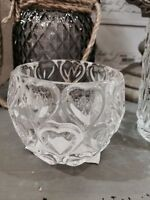 Glass Tea Light Candle Holders Hearts Wedding Table Decoration Set of 3 or 6