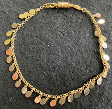 Disks And Magnetic Closure 10� Gold Tone Ankle Bracelet With Dangling
