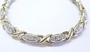 "Fine Round Cut Diamond 2-Tone X Tennis Bracelet 14Kt 2.00Ct 7.5"""