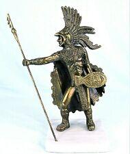 CUAUHTEMOC AZTEC EMPEROR WARRIOR STATUE BRASS METAL FIGURINE ON MARBLE MEXICO