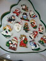 15 VINTAGE clay Christmas Ornaments Santa Penguin Bear Snowman etc