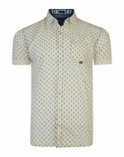 Firetrap Mens Short Sleeve Check Paisely Anchor Cotton Casual Pattern Shirt S S3 - Ecru