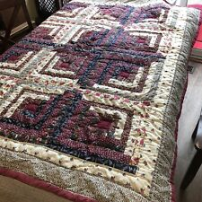 Holiday ChristmasQuilted Quilt Log Cabin Maroon Wine Cream Blue Floral Cotton