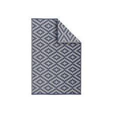 Tapis d'extérieur 120x180cm STOCKHOLM - Rectangulaire, motif losanges bleu / be