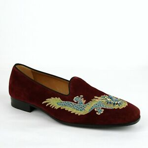 Gucci Men's Burgundy Suede Loafer w/Embroidered Dragon 9.5/US 10 496251 5060