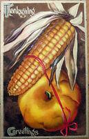 1910 Embossed, Chromolithographic Thanksgiving Postcard: Turkey & Corn