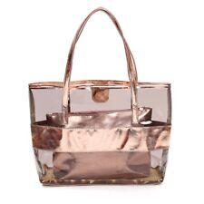 Makeup Waterprof Tote Stripe Beach Shoulder Bag Rose Gold Women Fashion Gift Lad