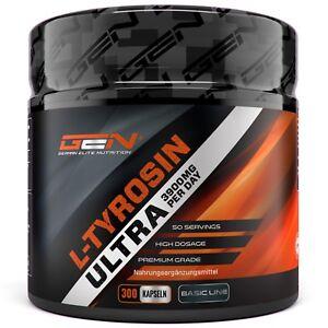 L TYROSIN ULTRA = 300 Kapseln a 650 mg Hochdosiert - Muskelaufbau F-Burn Stress