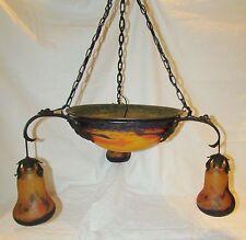 LUSTRE PATE DE VERRE MULLER  ART DECO LAMPE / french art glas lamp