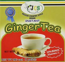 JCS Jamaican Reggae Country Style Instant Ginger Tea, 11 packets, 18 gm each
