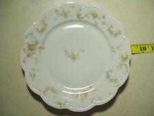 """Antique Lot of 6 Haviland & Co Limoges France Pink Roses Blue Ribbons 9"""" Plate"""