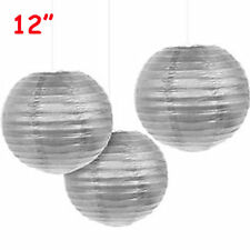 """12 Silver 12"""" Paper Chinese Lantern Lamp Shade Wedding Party Decoration Supplies"""