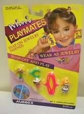 #2162 Noc Vintage Mannix Mini Playmates Snap On Jewelry Friends Hairclips & Ring