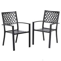2 Piece Patio Wrought Iron Chair Outdoor Dining Set with Armrest-Supports 300LBS