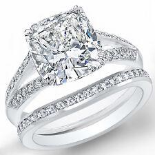 2.50 Ct Cushion Cut Diamond Split Shank Engagement Ring & Matching Band E,FL GIA