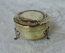 Piccola scatola portagioie con piedini Sheffield c1900 Silver Plated Jewelry Box