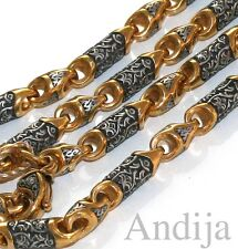 """RARE CUSTOM MADE CHAIN RUSSIAN ORTHODOX STERLING SILVER 925+999 GOLD 65cm, 25.6"""""""