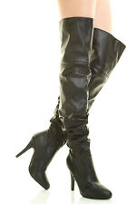 Sexy Women Fashion Slouchy Over Knee Thigh High Stiletto Heel Boot Black US Sz 9