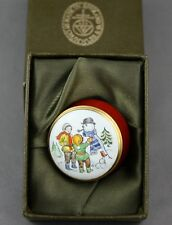 Crummles Enamel Trinket Pill Box Snowman With Kids Made in England Box Included