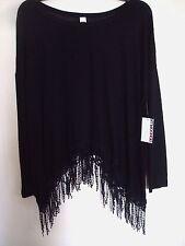 Ladies Plus Bongo Top Knit Black  with Fringe Size 3X New