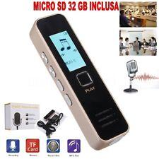 REGISTRATORE VOCALE AUDIO DIGITALE SCHERMO LCD MP3 RECORDER + SD 32 GB INCLUSA