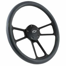 """Black and Carbon Fiber Plastic 14"""" Steering Wheel For 1995 - 2001 Chevy S-10"""