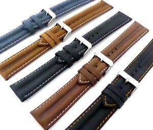 Superior Double Ridge Profile Water Resistant Matt Finish Genuine Leather Strap