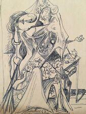 Très beau dessin encre original  Hella Guth Abstraction cubiste 1960