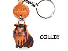 Collie Handmade 3D Leather Dog Key chain ring fob *VANCA* Made in Japan #56721