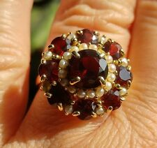14K YELLOW GOLD 3.7CTW GARNET AND SEED PEARL HALO CLUSTER RING SZ8