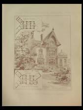 PARIS, HOTEL PRIVE RUE MONCEAU - 1890 - PLANCHE ARCHITECTURE - LANGLAIS