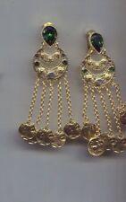 OSCAR  DE LA RENTA 4 1/2 GREEN TASSEL earrings USA